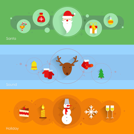 warmly: Christmas banner set with santa holiday sound isolated vector illustration