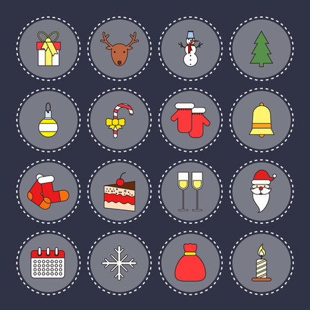 Christmas new year round icons set with bell socks cake isolated illustration Vector
