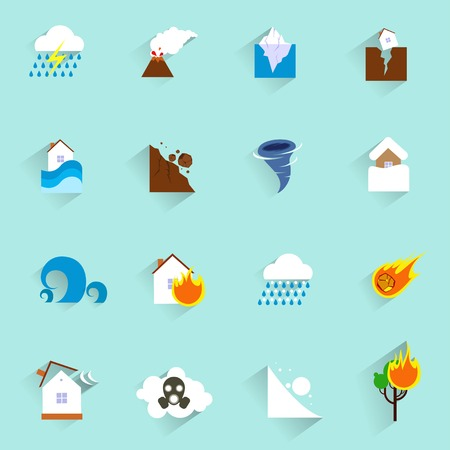 disaster: Natural disaster catastrophe and crisis icons flat set isolated illustration