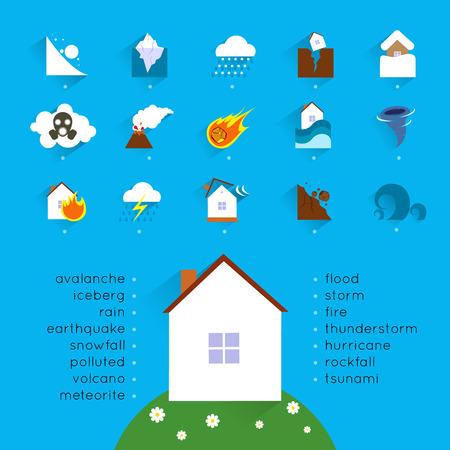 incendio casa: Concepto Natural accidente desastre con iconos de peligro establecidos y casa ilustración