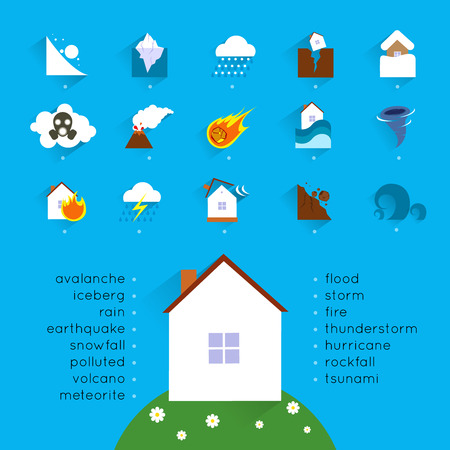 house flood: Natural disaster accident concept with danger icons set and house illustration