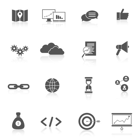 icons site search: SEO marketing training landing search web site black icons set isolated illustration
