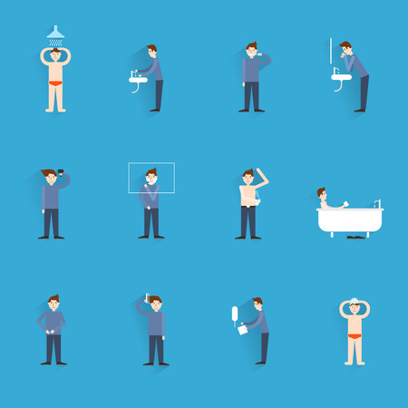 Hygiene icons flat set with people figures washing body cleaning isolated illustration Vector