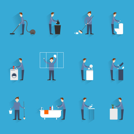 Cleaning flat icons set with  household working people figures isolated illustration