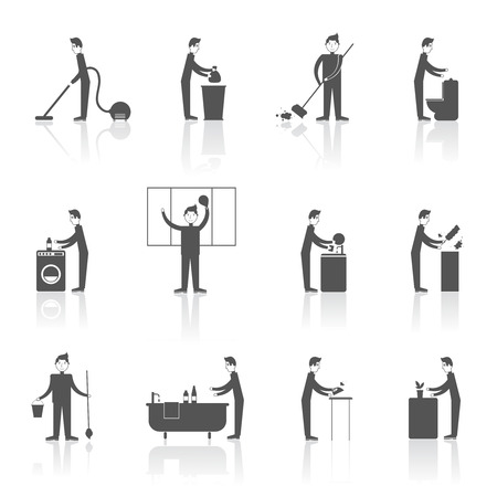 Cleaning black icons set with people figures and housekeeping equipment isolated illustration Illustration