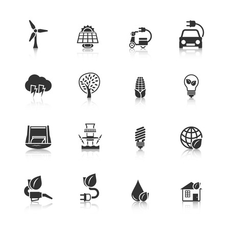 clean energy: Ecologically clean planet and energy saving solutions black icons set with dam windmill abstract isolated illustration Illustration