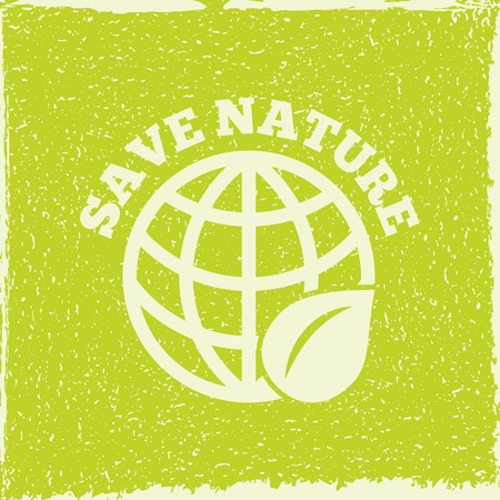 force of the wind: Save nature decorative planet eco energy solution emblem poster print with green leaf symbol abstract illustration