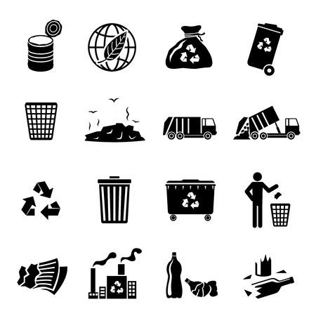 Ikony recyklingu śmieci czarny zestaw wysypiska śmieci ciężarówki wywrotki pojedyncze ilustracji