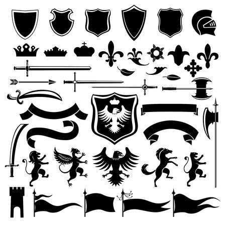 Araldici d'epoca set icone decorative nere medievali insieme con scudo corona arabesco illustrazione isolato Archivio Fotografico - 32945869