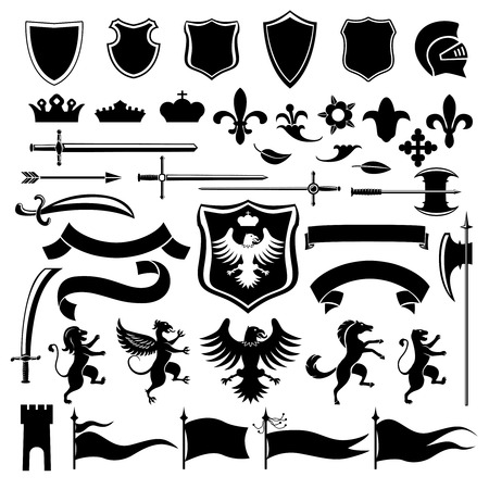 Heraldic medieval vintage set black decorative icons set with crown shield arabesque isolated illustration Çizim