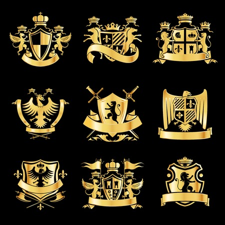Heraldic royal art symbols decorative emblems golden set with griffin swords and ribbons isolated illustration