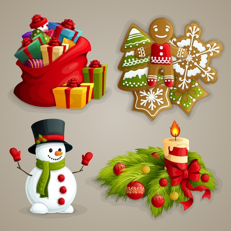 candles: Christmas holiday decoration decorative icons set with gifts cookies snowman candle isolated illustration