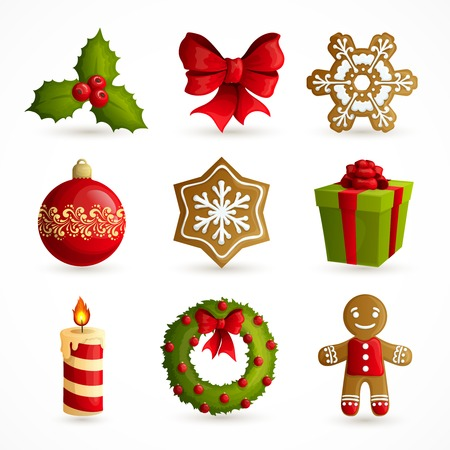 Christmas holiday decoration decorative icons set with mistletoe bow snowflake cookie isolated illustration