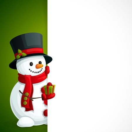 Christmas new year leaflet template with snowman in scarf gloves and hat with gift box in hand illustration Vector