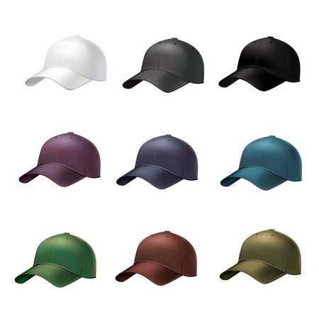Realistic side view different colors baseball cap decorative icons set illustration