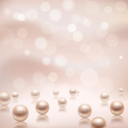 perlas: Lujo fondo hermoso joyería brillante con perlas rosa ilustración Vectores