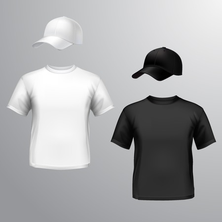 t shirt design: Men t-shirt and baseball cap front set isolated on grey background illustration