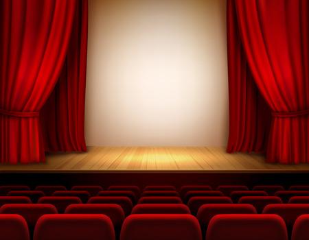빨간 벨벳 열려있는 복고 스타일 커튼 배경 일러스트와 함께 극장 무대 일러스트