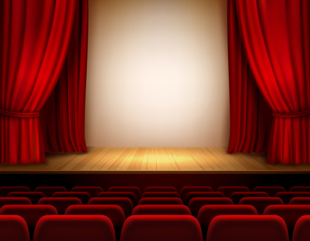 Theater stage with red velvet open retro style curtain background illustration Vector