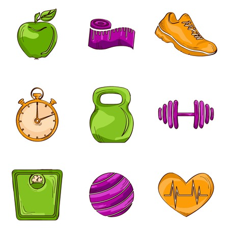 Fitness bodybuilding diet colored sketch icons set with kettlebell weight stopwatch isolated illustration Vector