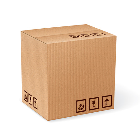 moving box: Brown closed carton delivery packaging box with fragile signs isolated on white background illustration.