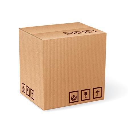 Scatola d'imballaggio di consegna chiusa del cartone di Brown con i segni fragili isolati sull'illustrazione bianca del fondo. Archivio Fotografico - 32945893