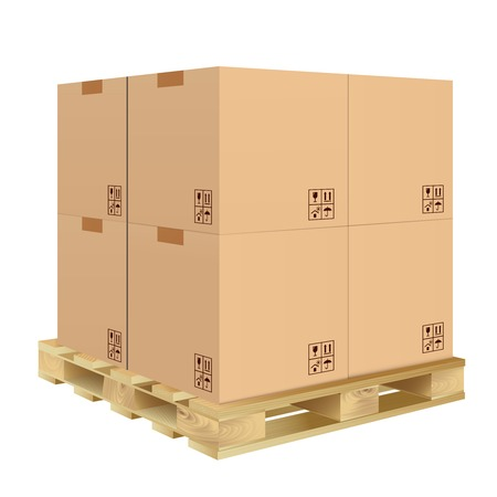 Brown closed carton delivery packaging box with fragile signs on wooden pallet isolated on white background illustration.