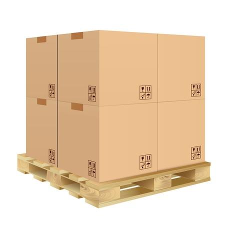Bruine gesloten kartonnen levering verpakking doos met breekbare borden op houten pallet op een witte achtergrond illustratie.