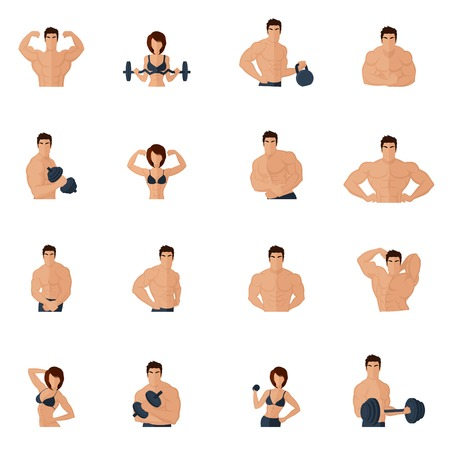 bicep: Bodybuilding fitness gym icons flat set with strong men and women figures lifting iron isolated illustration Illustration