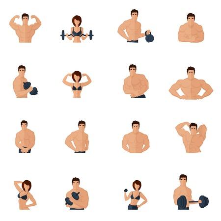 Bodybuilding palestra di fitness icone piatto impostato con ferro uomini e donne forti figure di sollevamento, illustrazione,