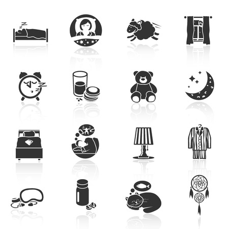 restful: Sleep time icons black set with teddy bear pillow lamp isolated illustration