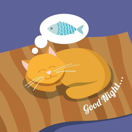 purring: Sleeping cute cat dreaming about fish good night background poster illustration Illustration