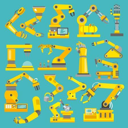 industriales: Fabricaci�n rob�tica de la industria de tecnolog�a de montaje del brazo mec�nico iconos decorativos planas conjunto aislado ilustraci�n