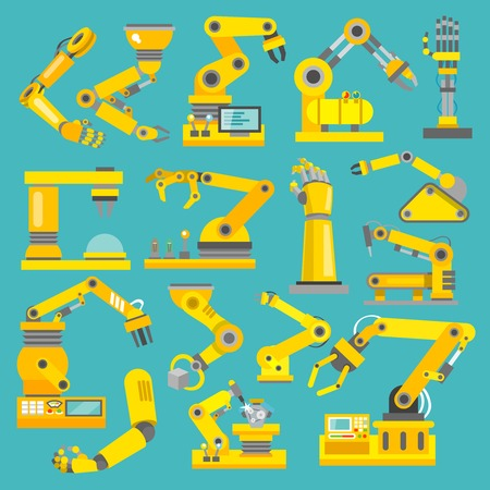 machine operator: Robotic arm manufacture technology industry assembly mechanic flat decorative icons set isolated illustration Illustration
