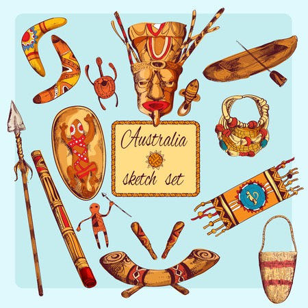 Australia native aboriginals colored sketch decorative icons set isolated illustration Vector