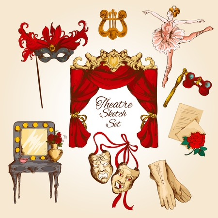 drama: Theatre acting performance colored sketch decorative icons set with ballerina curtain gloves isolated illustration