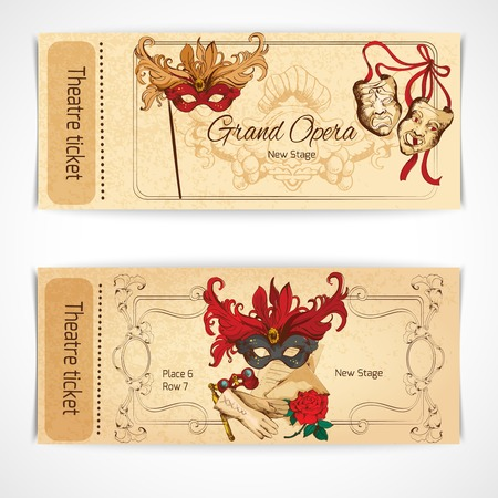 Theatre drama opera stage sketch tickets set with decoration isolated illustration.