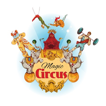 Magic circus colored background with clowns animals acrobat athlete illustration