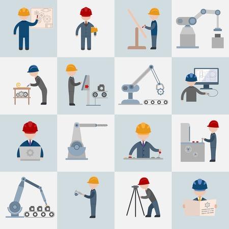 Construction Ingénierie travailleurs opérateur de la machine mécanique icônes plats mis illustration isolé Vecteurs