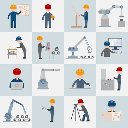 machine operator: Engineering construction worker machine operator mechanic flat icons set isolated illustration