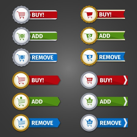 add to cart: Shopping cart buttons e-commerce web design elements glossy sticker set with buy add remove ribbons isolated illustration Illustration