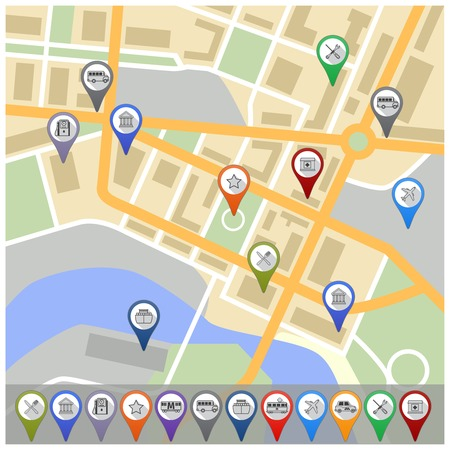 pointer emblem: Travel city road street map with navigation gps pin icons illustration