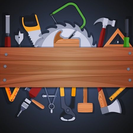 handwork: Carpentry wood works background with wooden plank and handwork tools and equipment illustration