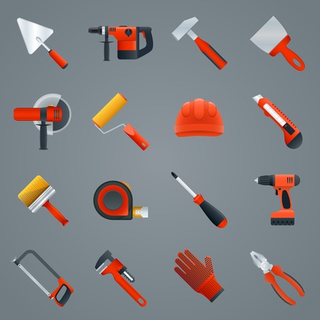 Repair and construction tools icons set with hammer saw screwdriver isolated illustration Vector
