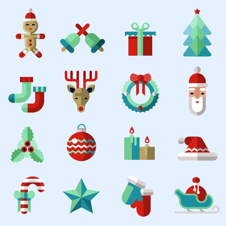 christmas candy: Christmas new year icons set with ginger man bells gift box pine tree isolated illustration Illustration