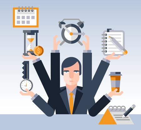 Time management concept with multitasking businessman with many hands and successful planning elements illustration Vectores