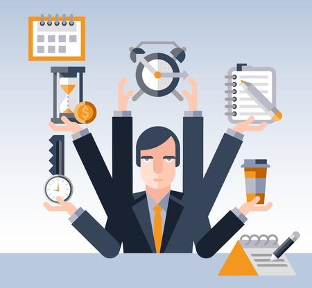 gestion del tiempo: Concepto de gestión de tiempo con el empresario multitarea con muchas manos y los elementos de planificación exitosos ilustración