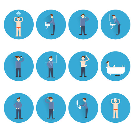 Hygiene icons flat set with man figures facial and body care isolated illustration Vector