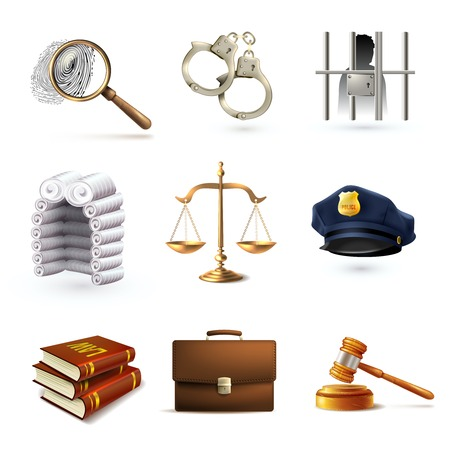 investigating: Decorative law legal justice police icons set with briefcase scales prisoner isolated vector illustration