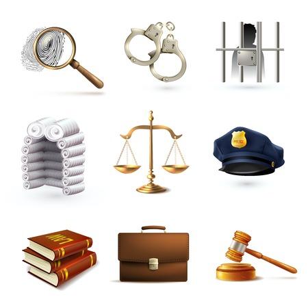 investigación: Derecho decorativo justicia legal iconos policiales establecidos con la cartera escalas aisladas prisionero ilustración vectorial Vectores